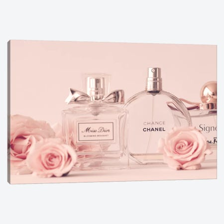 Perfume Collection Canvas Print #CMN125} by Caroline Mint Art Print