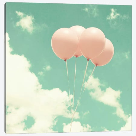 Pink Balloons In The Sky Canvas Print #CMN126} by Caroline Mint Canvas Art Print