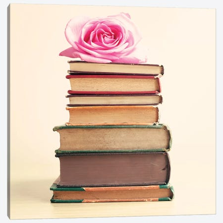 Rose And Books Canvas Print #CMN143} by Caroline Mint Canvas Art