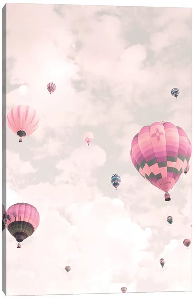 Balloons Over Pink Sky Canvas Art Print