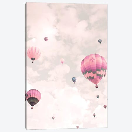 Balloons Over Pink Sky Canvas Print #CMN15} by Caroline Mint Canvas Artwork