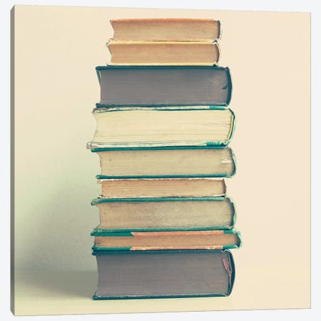 Stack Of Books Canvas Print #CMN161} by Caroline Mint Canvas Artwork