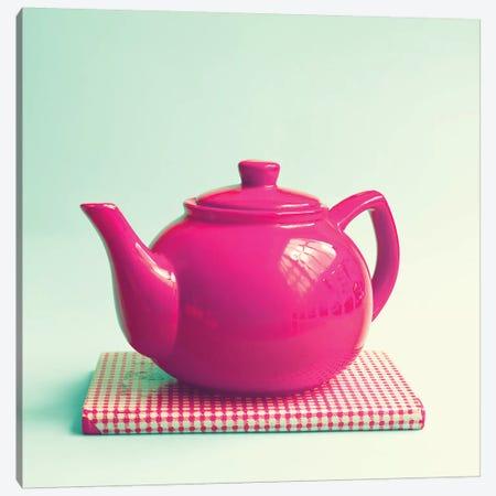 Tea And Book Canvas Print #CMN165} by Caroline Mint Art Print