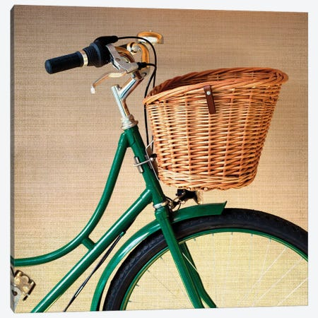 The Green Bicycle Canvas Print #CMN176} by Caroline Mint Canvas Wall Art