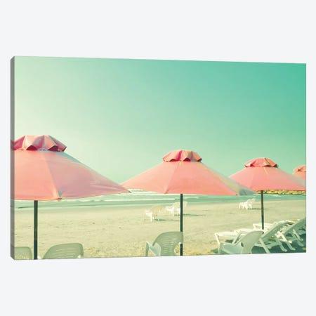 Three Coral Umbrellas Canvas Print #CMN185} by Caroline Mint Art Print