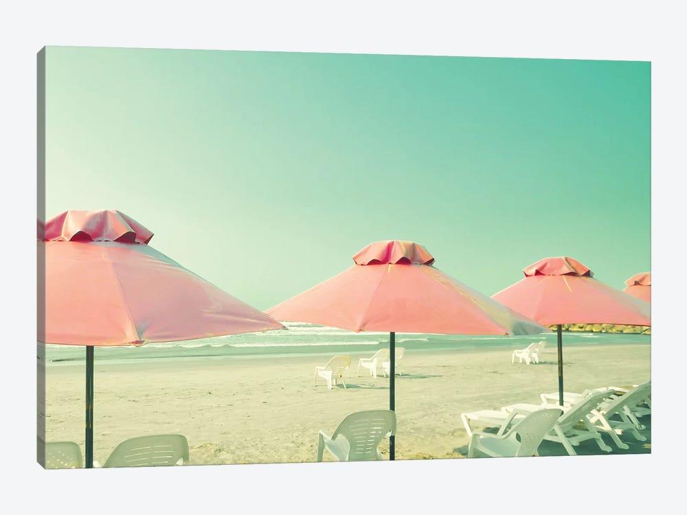 Three Coral Umbrellas by Caroline Mint 1-piece Art Print