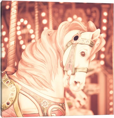 Blush Carousel Horse Canvas Art Print