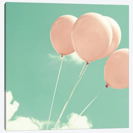 Blush Pink Balloons 3-Piece Canvas #CMN22} by Caroline Mint Canvas Art