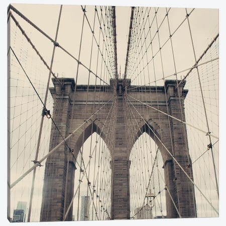Brooklyn Bridge Canvas Print #CMN26} by Caroline Mint Art Print
