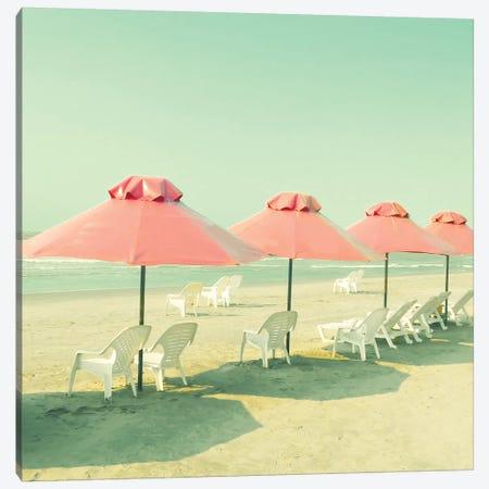 Coral Umbrellas Canvas Print #CMN34} by Caroline Mint Canvas Art