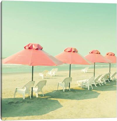 Coral Umbrellas Canvas Art Print