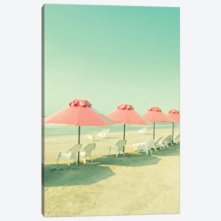 Coral Umbrellas In The Beach Canvas Print #CMN35} by Caroline Mint Canvas Wall Art