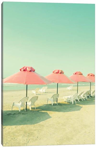 Coral Umbrellas In The Beach Canvas Art Print