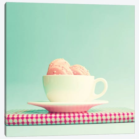 Cup Of Macaroons Canvas Print #CMN36} by Caroline Mint Canvas Wall Art