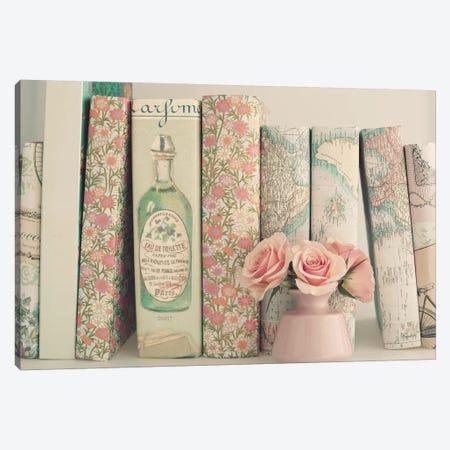 Floral Books 3-Piece Canvas #CMN51} by Caroline Mint Canvas Art Print