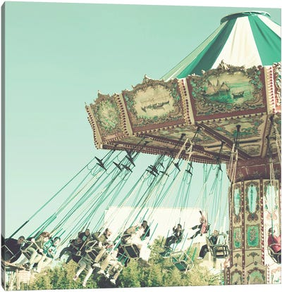 Flying Chairs On Mint Canvas Art Print