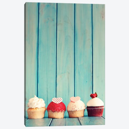 Four Cupcakes Canvas Print #CMN57} by Caroline Mint Canvas Art