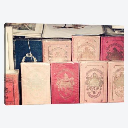 French Pink Books Canvas Print #CMN61} by Caroline Mint Canvas Artwork