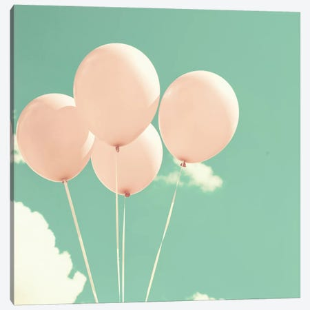 Happy Balloons In The Sky Canvas Print #CMN63} by Caroline Mint Canvas Artwork