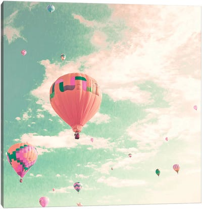 Hot Air Balloons Over Mint Sky Canvas Art Print