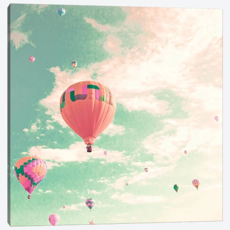 Hot Air Balloons Over Mint Sky Canvas Print #CMN71} by Caroline Mint Art Print