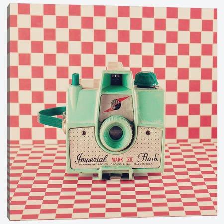 Mint Retro Camera Canvas Print #CMN92} by Caroline Mint Art Print