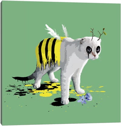 The Cat Who Wanted To Be A Bee Canvas Art Print