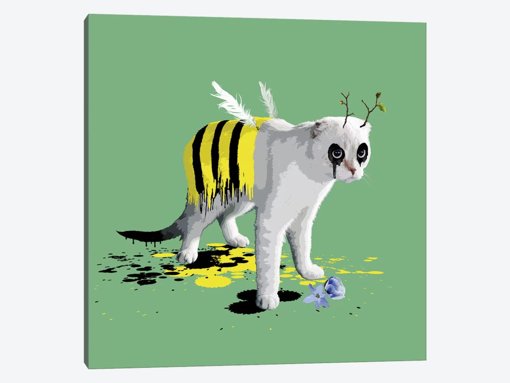 The Cat Who Wanted To Be A Bee by Carl Moore 1-piece Art Print