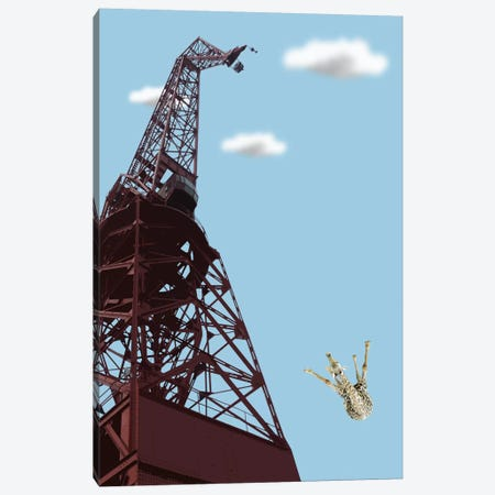 Giraffe Suicide Canvas Print #CMO17} by Carl Moore Art Print