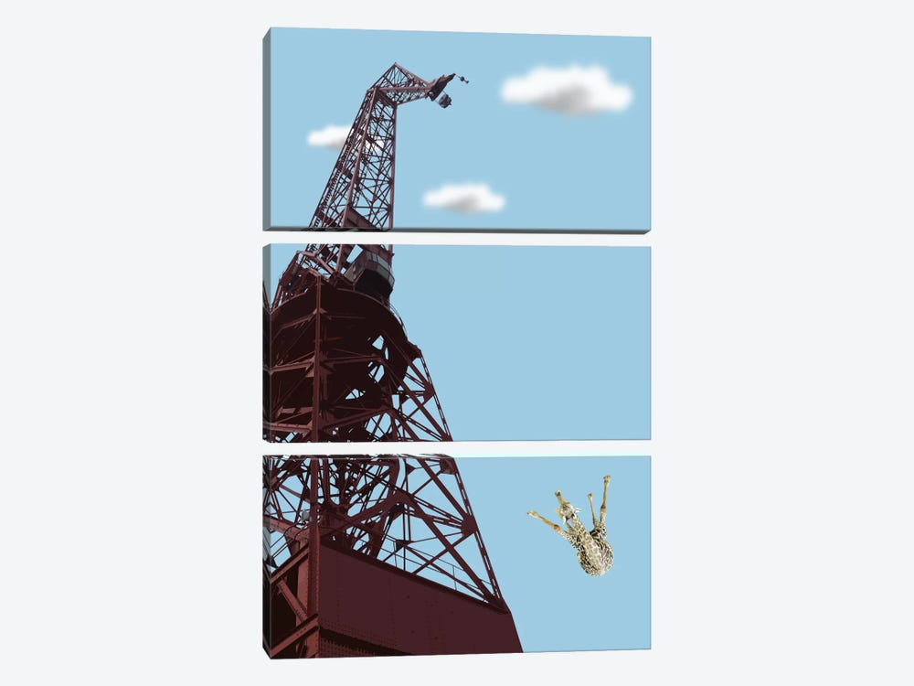 Giraffe Suicide by Carl Moore 3-piece Canvas Artwork