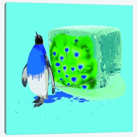 The Penguin Who Wanted To Be A Peacock Canvas Print #CMO20} by Carl Moore Art Print