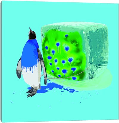 The Penguin Who Wanted To Be A Peacock Canvas Print #CMO20