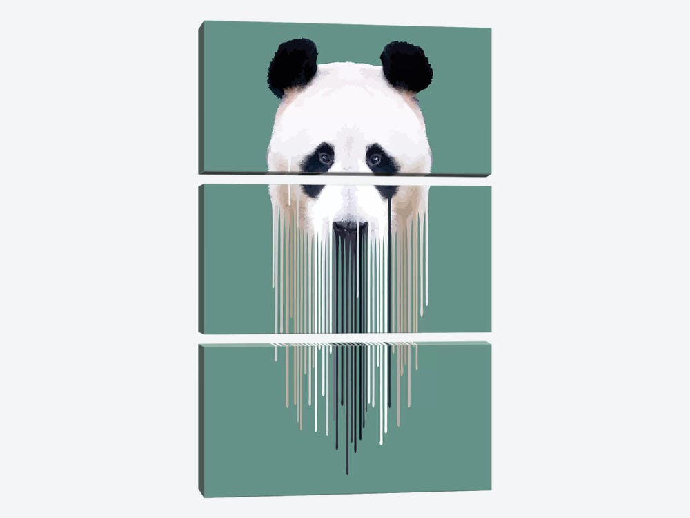 Dripsters Series: Panda Face by Carl Moore 3-piece Canvas Print