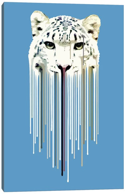 Dripsters Series: Snow Leopard by Carl Moore Canvas Artwork