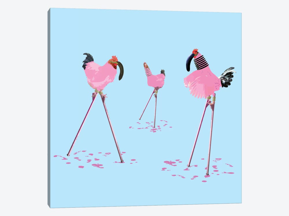 The Chickens Who Wanted To Be Flamingos by Carl Moore 1-piece Canvas Art Print