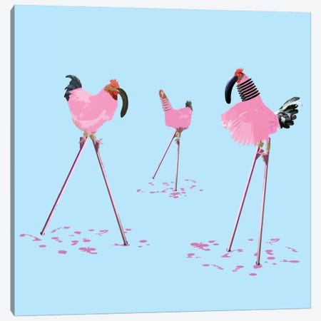 The Chickens Who Wanted To Be Flamingos 3-Piece Canvas #CMO2} by Carl Moore Canvas Print