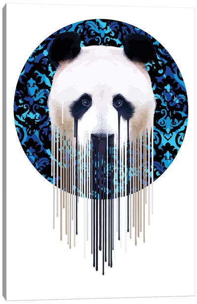 Panda Dazzle Blue Canvas Art Print