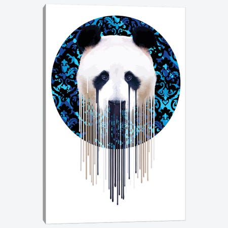 Panda Dazzle Blue 3-Piece Canvas #CMO33} by Carl Moore Canvas Wall Art