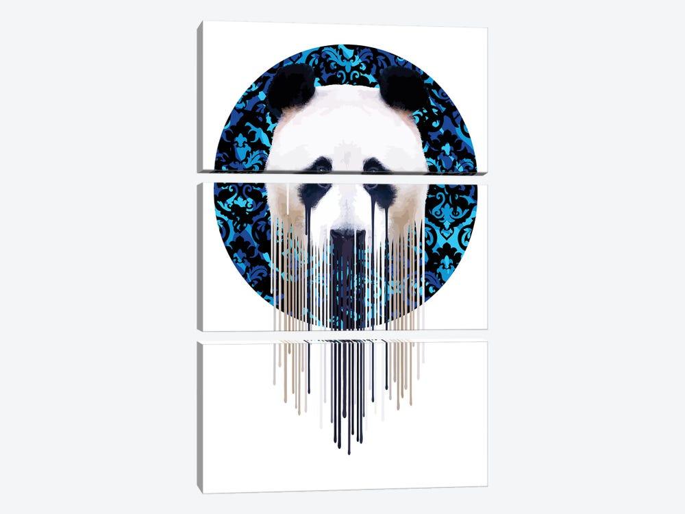 Panda Dazzle Blue by Carl Moore 3-piece Canvas Art