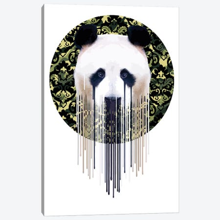 Panda Dazzle Green Canvas Print #CMO34} by Carl Moore Art Print