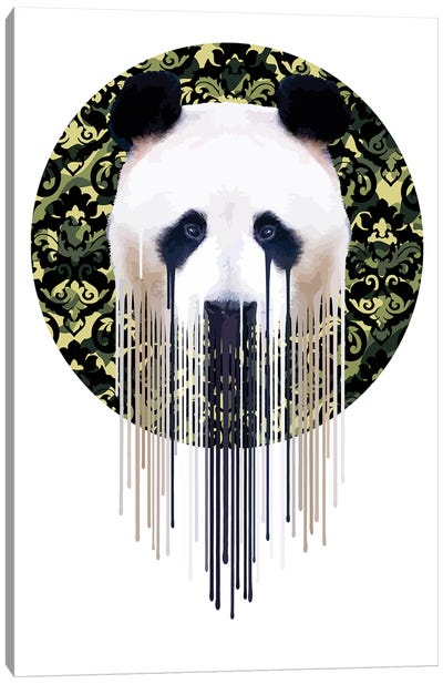 Panda Dazzle Green Canvas Art Print