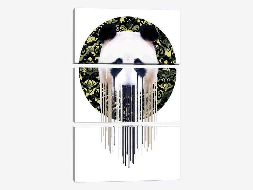 Panda Dazzle Green by Carl Moore 3-piece Canvas Art Print