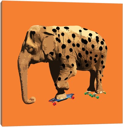 The Elephant Who Wanted To Be A Cheetah Canvas Print #CMO3