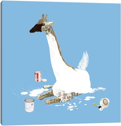 The Giraffe Who Wanted To Be A Swan Canvas Art Print