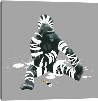 The Gorilla Who Wanted To Be A Zebra Canvas Print #CMO5
