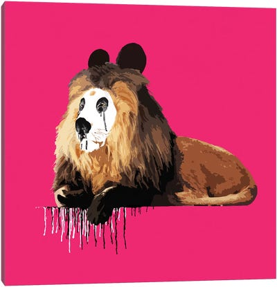 The Lion Who Wanted To Be A Panda Canvas Art Print