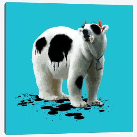 The Polar Bear Who Wanted To Be A Cow Canvas Print #CMO8} by Carl Moore Canvas Art Print