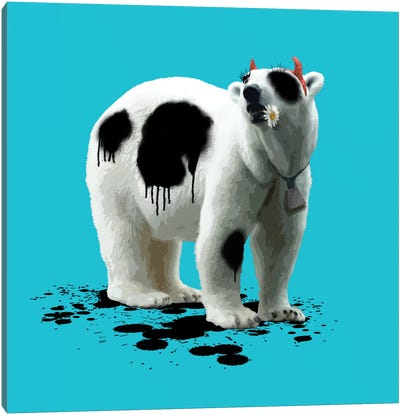 The Polar Bear Who Wanted To Be A Cow Canvas Art Print