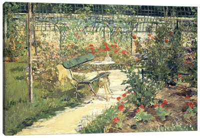 The Bench in the Garden of Versailles, 1881 Canvas Art Print