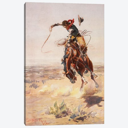 A Bad Hoss Canvas Print #CMR1} by Charles Marion Russell Canvas Print